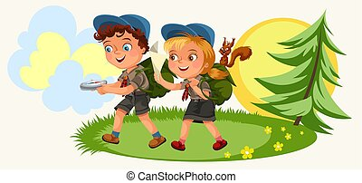 Cartoon kids following the compass in forest