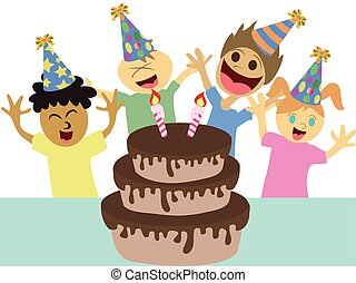 cartoon kids happy birthday party