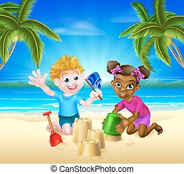 Cartoon Kids Having Fun on the Beach