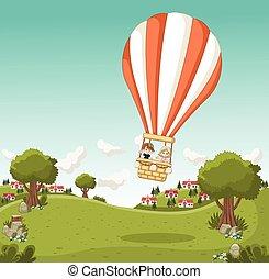 Cartoon kids inside a hot air balloon flying over a green ...