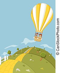 hot air balloon flying over green hills with a yellow brick road.