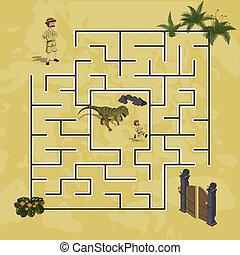 Cartoon kids maze in dinosaur world. Labyrinth of dino way. Help  researcher find path to gate. Childrens home game