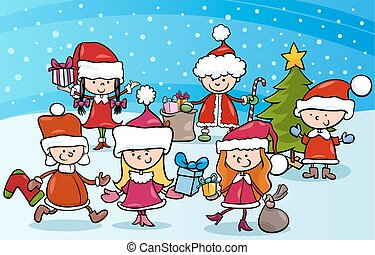 cartoon kids on christmas - Cartoon Illustration of Children...