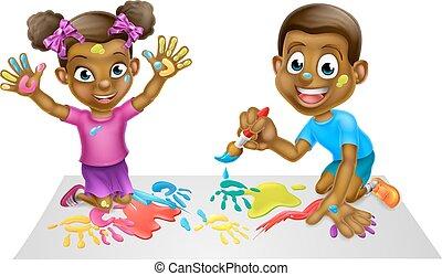 Cartoon Kids Painting - Cartoon black boy and girl children...