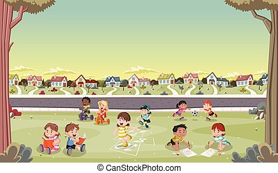 Cartoon kids playing in suburb neighborhood. Green park...
