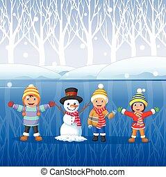 Cartoon kids playing on snow