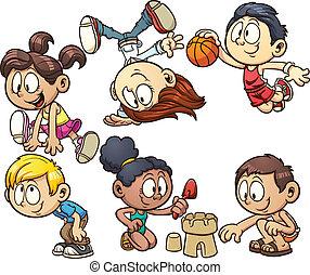 Cartoon kids playing - Cute cartoon kids playing. Vector...