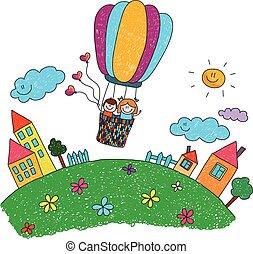 Cartoon kids riding a hot air balloon.