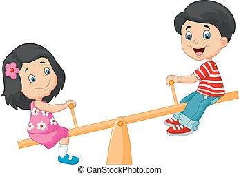 Cartoon Kids see saw - Vector illustration of Cartoon Kids...