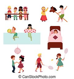 Set of kids, boys and girl spending vacation in summer camp - eating, sleeping, playing, swimming, dancing, cartoon vector illustration on white background. Summer camp set with cartoon kids