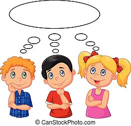 Cartoon kids thinking with white bu - Vector illustration of...
