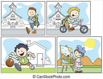 Cartoon Kids Vector Set