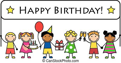 Cartoon kids with a banner birthday