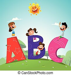 Cartoon kids with ABC letters - Cartoon kids and ABC letters...