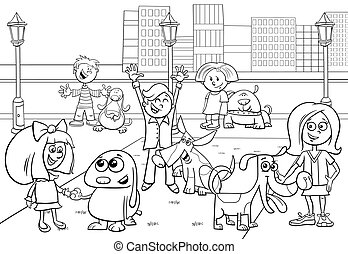 cartoon kids with dogs coloring page