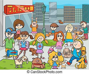 cartoon kids with dogs in the city - Cartoon Illustration of...