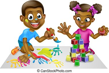 Cartoon Kids with Paint and Blocks