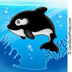 Cartoon killer whale in sea - color illustration.