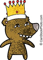 cartoon king bear showing teeth
