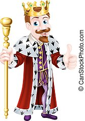 Cartoon King - Cartoon king wearing a crown, holding a...
