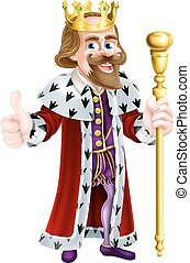 Cartoon King - King cartoon in a crown, holding a sceptre...