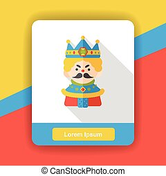 cartoon king flat icon