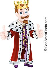 Cartoon King Giving Double Thumbs Up - Illustration of a...
