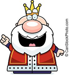A cartoon illustration of a king with an idea.