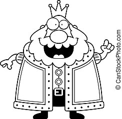 Cartoon King Idea - A happy cartoon king with an idea.