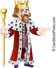 Cartoon King Pointing - Happy King cartoon character wearing...