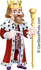 Cartoon King Pointing - A king cartoon character holding a...