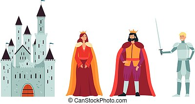 Cartoon king queen and knight in front of a castle