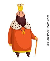 Cartoon king wearing crown and mantle. Fat king with stick standing. Color vector illustration