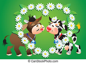 Cartoon kissing cows and camomile b