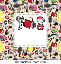 cartoon kitchen card
