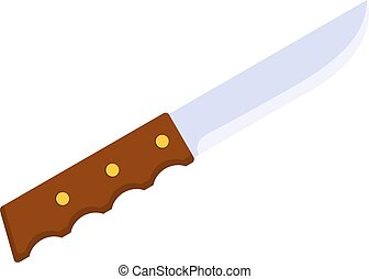 Cartoon Kitchen knife with a wooden handle on a white background. Isolated object kitchen