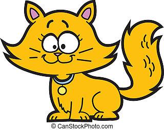 Cartoon Kitten - Cute Happy Orange Cartoon Kitten