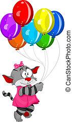 Cartoon kitten with balloons