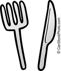 cartoon knife and fork