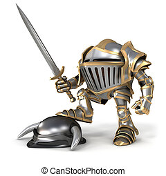 Cartoon Knight conqueror - Cartoon knight gnome. The...