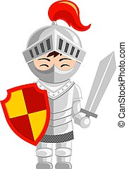 Cartoon knight. Cute little kid in costume. Vector flat...
