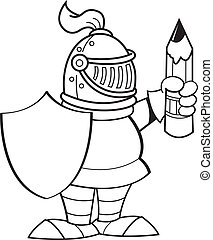 Cartoon knight holding a shield and - Black and white...