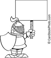Cartoon knight holding a sign.