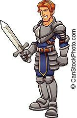 Cartoon knight in armor. Vector clip art illustration with ...