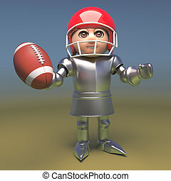 Cartoon knight in armour wearing holding a football and wearing a helmet, 3d illustration
