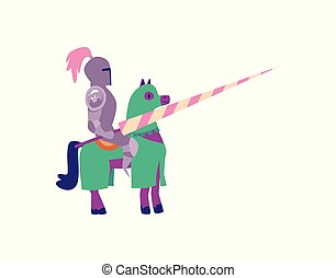 Cartoon knight in metal armor sitting on a horse holding a spear
