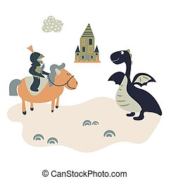 Cartoon knight on a horsem meets a dragon. Kids castle theme illustration.