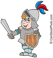Cartoon knight on white background - isolated illustration.