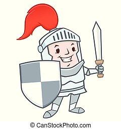 Cartoon Knight - Vector illustration of funny cartoon knight...