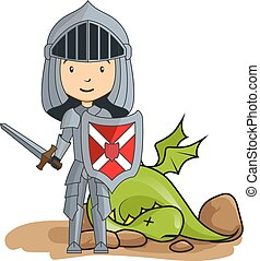 Cartoon knight victorious over the dragon